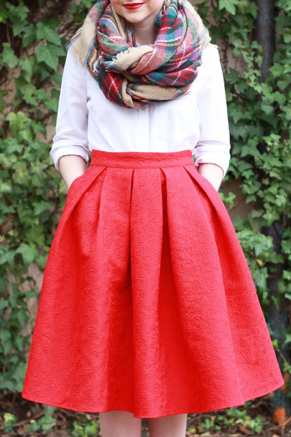 White Button Up with Full Skirt