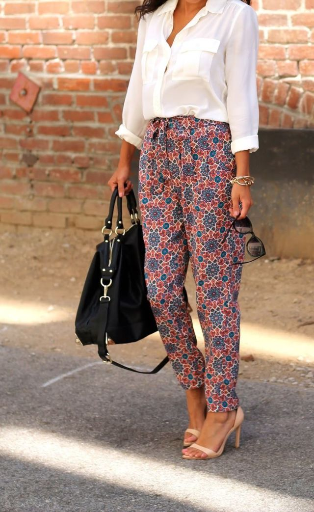 White Button Up with Printed Pants