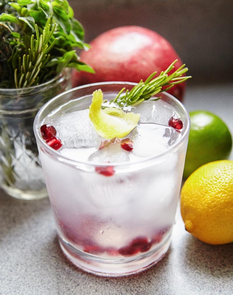 Meyer lemon and rosemary gin fizz.